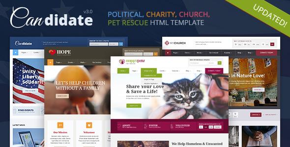 Candidate - Political, Nonprofit, Church, Pet Rescue HTML Theme
