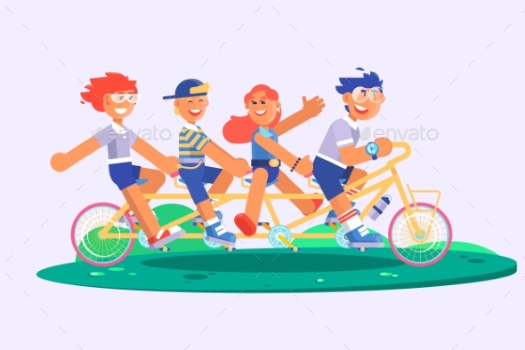 Family Tandem Bicycle Cartoon Concept with Parents