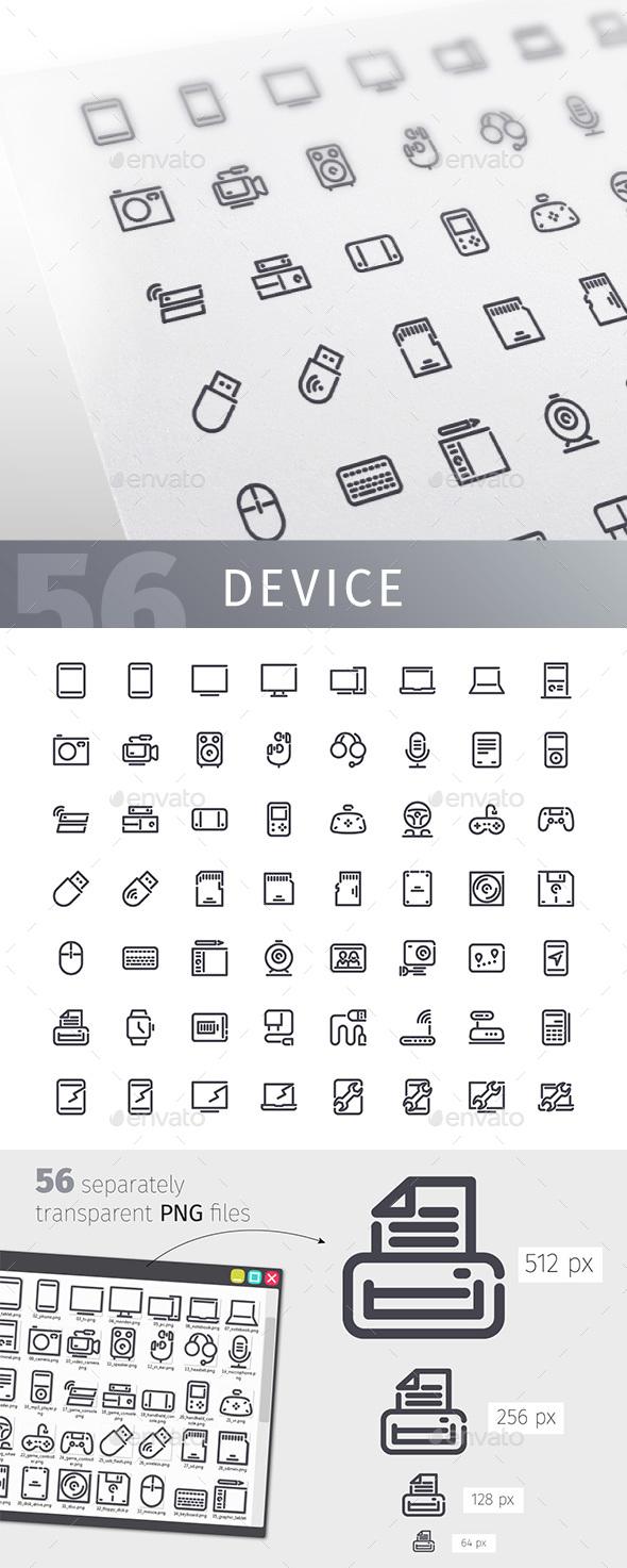 Device Line Icons Set
