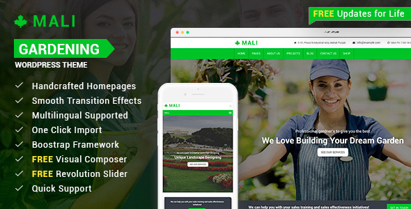 Mali - Landscaping, Gardening, and Lawn Responsive WordPress Theme