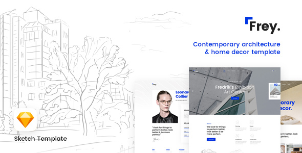 Frey - Contemporary Architecture & Portfolio Sketch Template