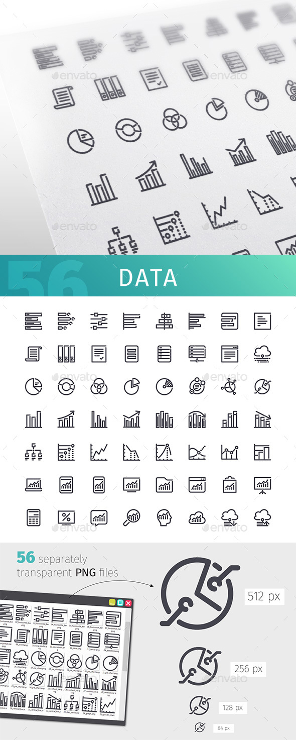 Data Line Icons Set