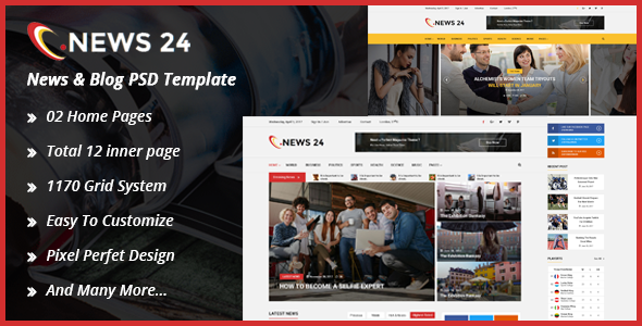 News24 News & Blog PSD Template