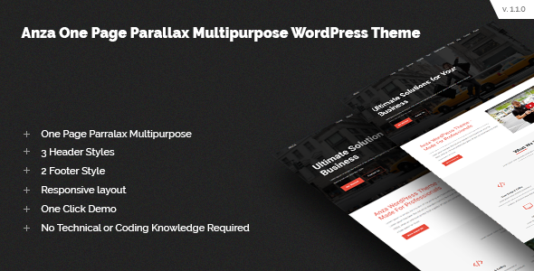 Anza One Page Parallax Multipurpose WordPress Theme