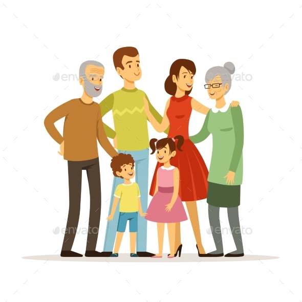 Vector Illustration of Big Family with Mother