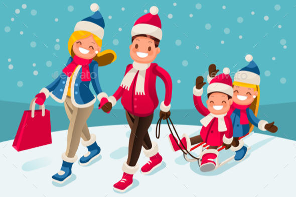 Happy Family in Winter Holidays Isometric People