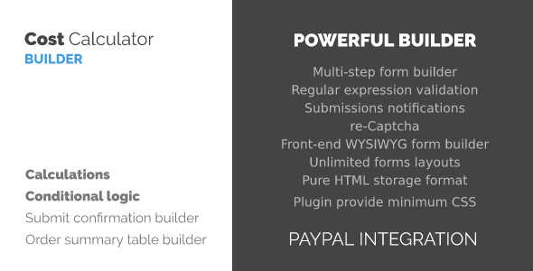 WordPress Cost Calculator and Payment Forms Builder
