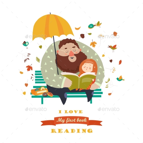 Father Reading a Book To His Daughter