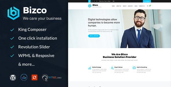 Bizco : Business Consulting and Professional Services WordPress Theme Free Download