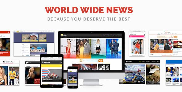 World Wide News - Magazine Responsive WordPress Theme