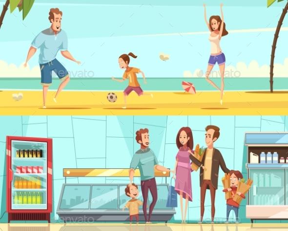 Family Horizontal Cartoon Banners