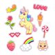 Stickers Set Pop Art Style With Unicorn - GraphicRiver Item for Sale