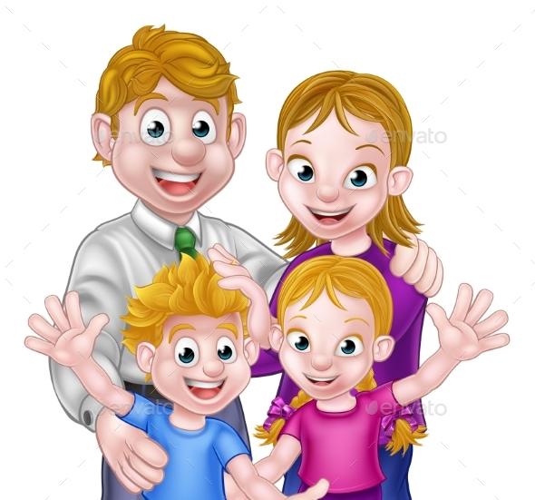 Cartoon Parents and Kids