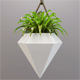 Vase diamond with a small plant - 3DOcean Item for Sale