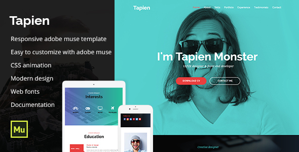 Tapien - CV Resume Personal and Portfolio Muse Template