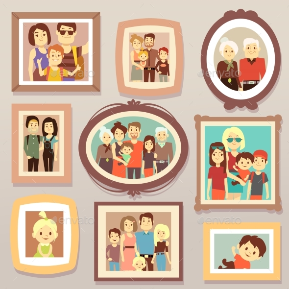Big Family Smiling Photo Portraits in Frames