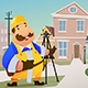 Contractor Standing in Front of a House - GraphicRiver Item for Sale