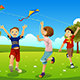Kids Flying Kites in a Park - GraphicRiver Item for Sale