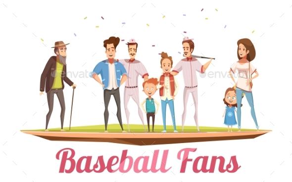 Baseball Fans Family Design Concept