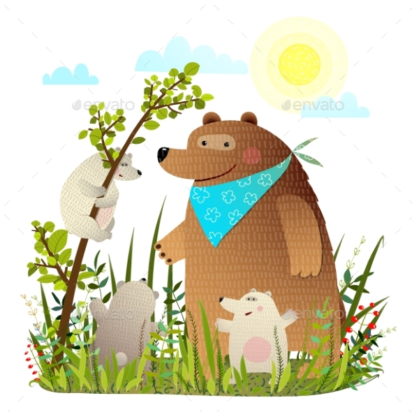 Mother Bear with Cubs in Wild Forest