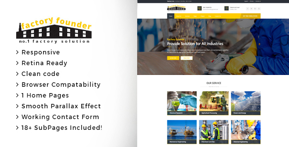 Factory Founder - Factory & Industrial Business HTML Template