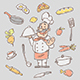 Drawing Sketch Cook and Various Kitchen Objects - GraphicRiver Item for Sale