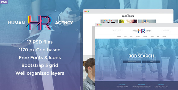 Human Agency - Human Resources PSD Template