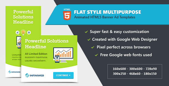 Flat Style Animated Banner Ad Templates - HTML5 GWD Download