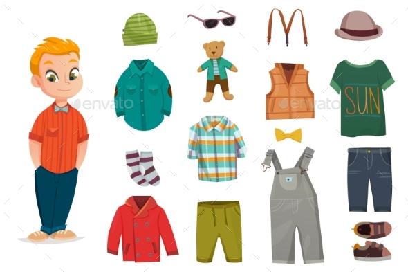Flat Baby Boy Fashion Icon Set