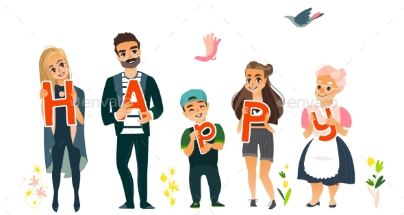 Family Members Holding Letters of Word Happy