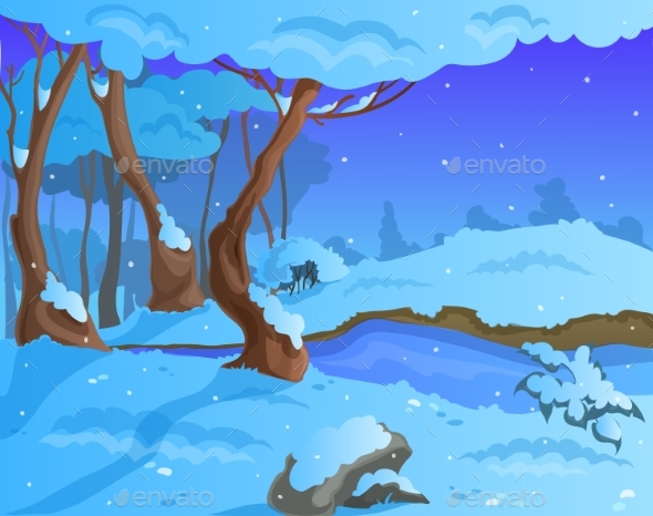 Cartoon Winter Background for a Game Art