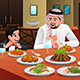 Muslim Arabian Man Eating With His Son - GraphicRiver Item for Sale
