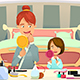 Mother and Daughter Applying Makeup - GraphicRiver Item for Sale