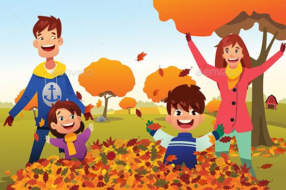 Family Celebrates Autumn Season Outdoors