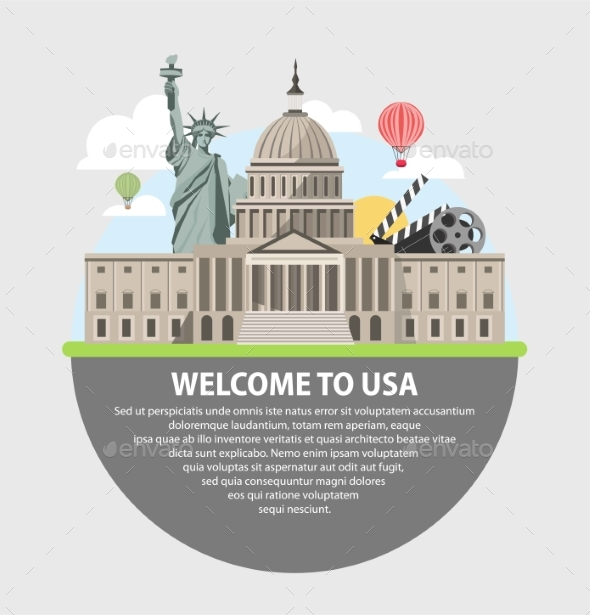 Welcome To USA Promotional Poster with Famous