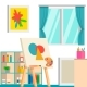 Art Studio Design Interior, Vector Illustration - GraphicRiver Item for Sale