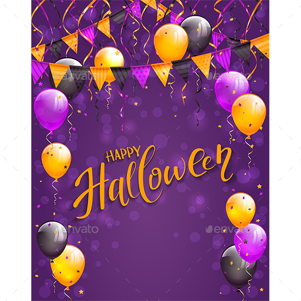 Lettering Happy Halloween with Pennants and Balloons on Violet Background