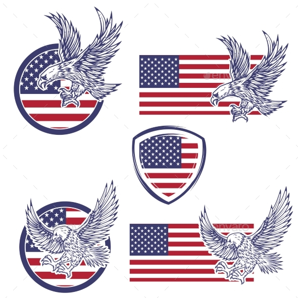 Set of the Emblems with Eagles