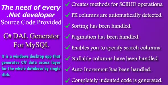 C# DAL Generator for MySQL - Source Code