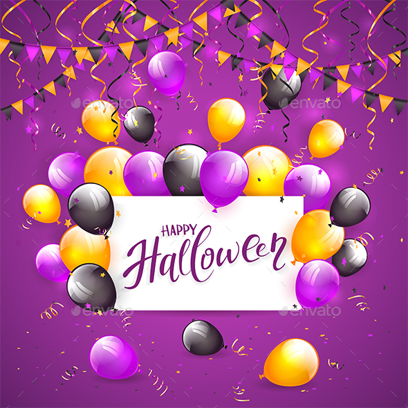 Halloween Balloons and Confetti on Violet Background