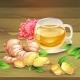 Ginger Tea Vector Composition on Wooden Background - GraphicRiver Item for Sale