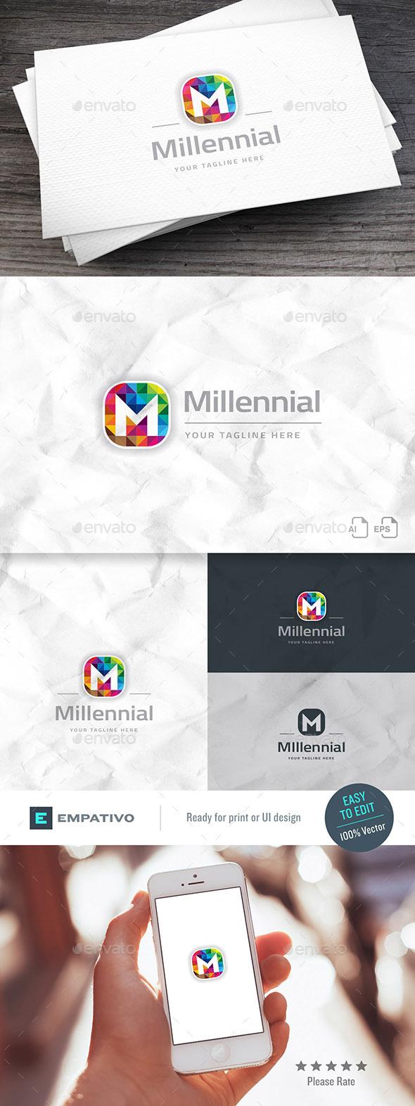 Millennial Brand Letter M Logo Template