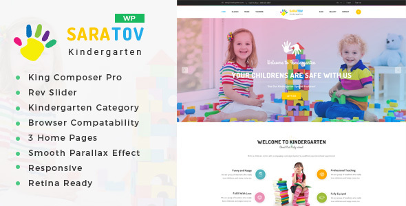 Saratov - Day Care & Kindergarten School WordPress Theme