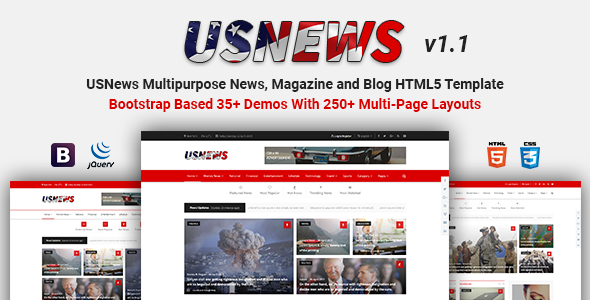 USNews | Multipurpose News, Magazine and Blog HTML5 Template 4