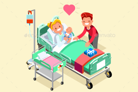 Birth and Pregnancy Vector Isometric People Illustration