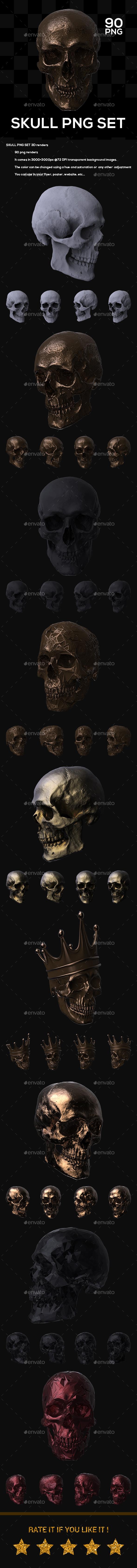 Skull PNG Set