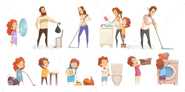 Family Cleaning Cartoon Icons Set