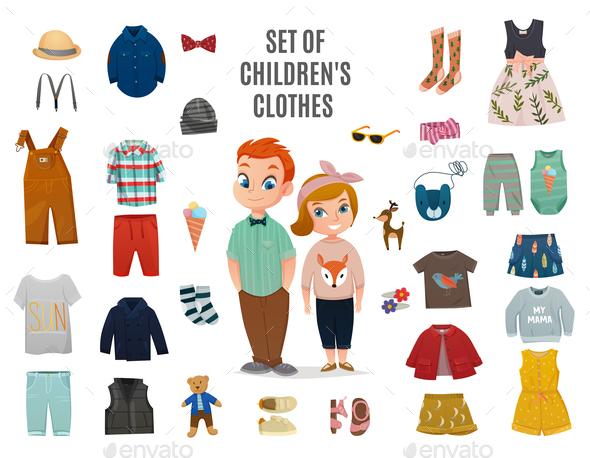 Children Fashion Big Icon Set