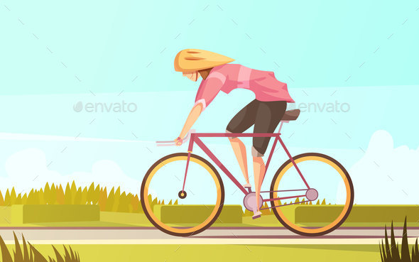 Bicycle Rider Woman Composition