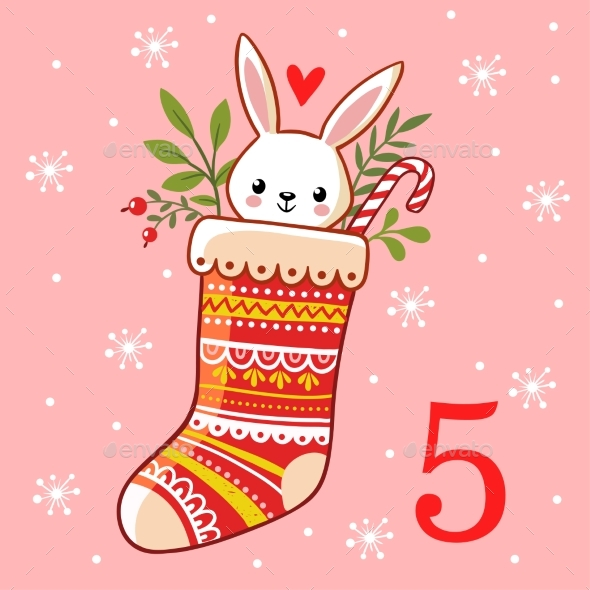The Hare is Sitting in a Christmas Sock